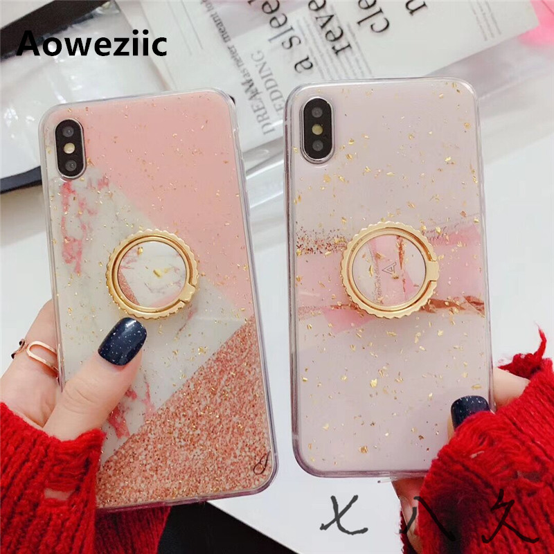 Aoweziic Girl Heart pink marble epoxy for iphone X XS MAX XR phone case ring 6s 7 8plus bracket soft shell in Fitted Cases from Cellphones Telecommunications