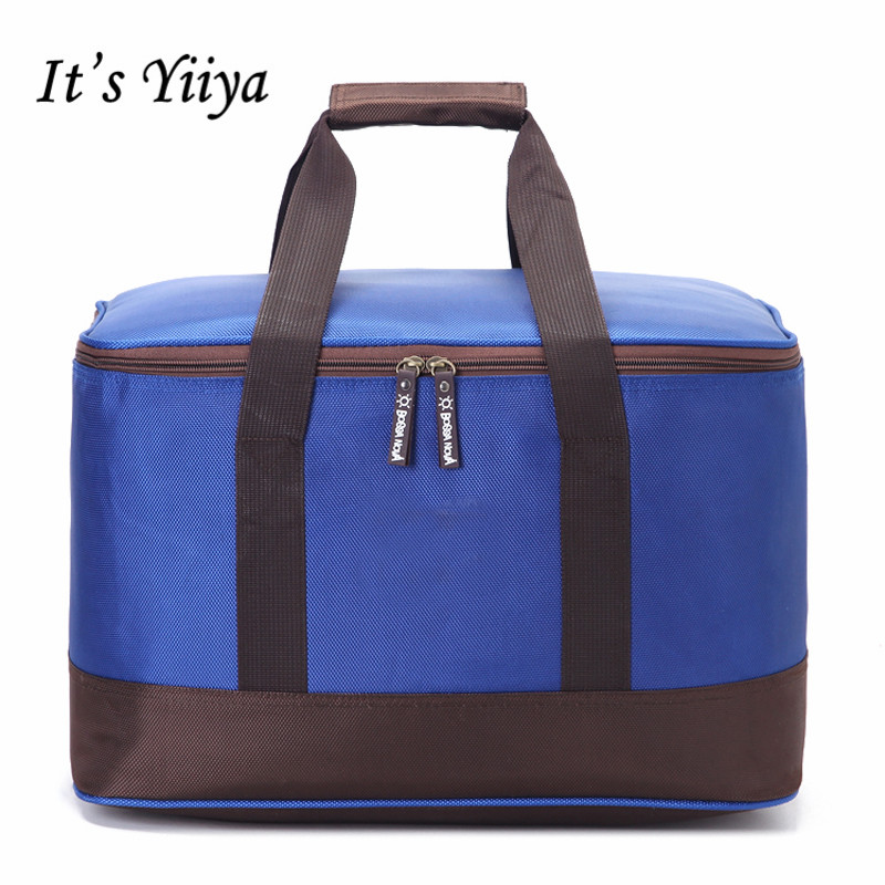 Free Shipping Large Blue Nylon Waterproof Picnic Cooler Bags Lunch Bag Thermal Bags For Food Handbags Insulation Ice Pack BD9012