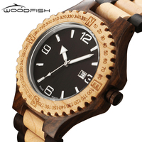 WOODFISH Classic Men Watch Vintage Quartz Wristwatches Casual Natural Wooden Watches Retro Wood Time Clock Relogio