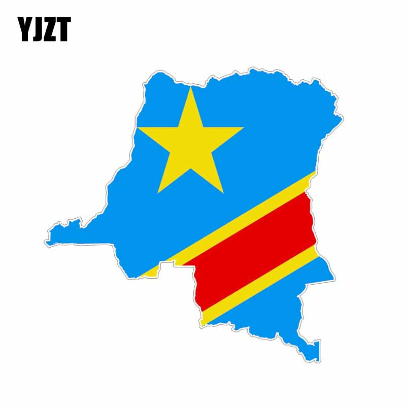 YJZT 14.6CM*14.3CM Car Styling Congo Flag Map Decal Motorcycle Car Sticker 6-1192