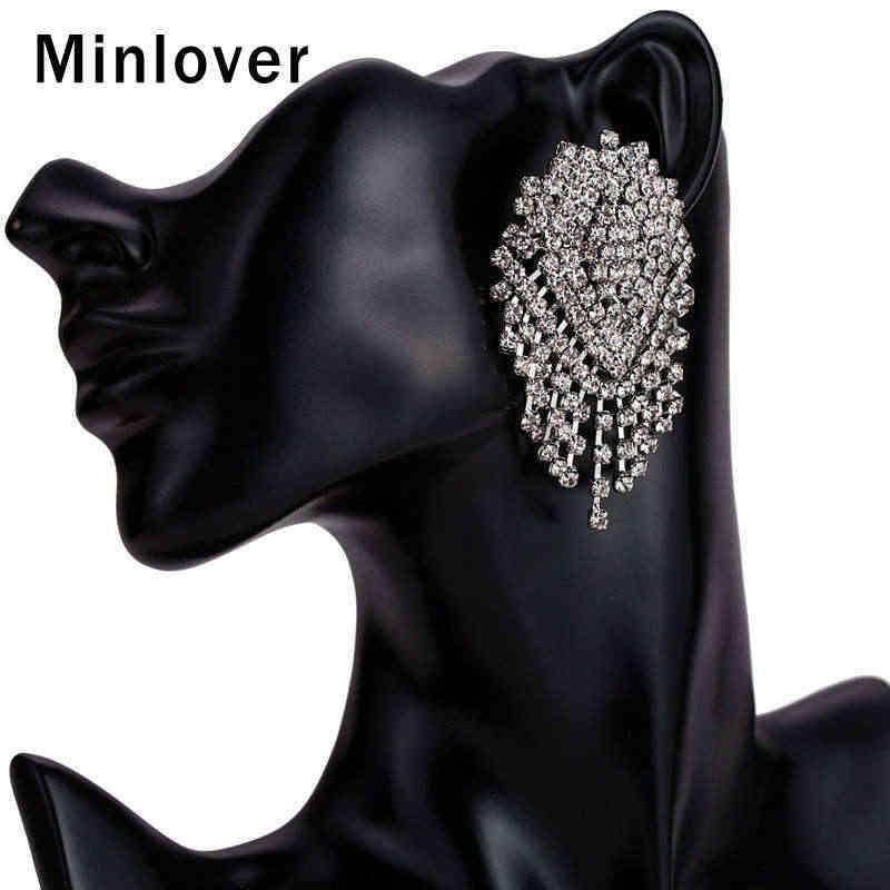 Minlover горный хрусталь большой кисточкой Висячие серьги Свадебные украшения для невесты этнические красочные роскошные большие висячие серьги MEH1247
