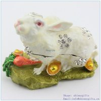 Factory Direct High Quality Enamel Technology With Crystal Stone Rabbit Shape Trinket Box SCJ644