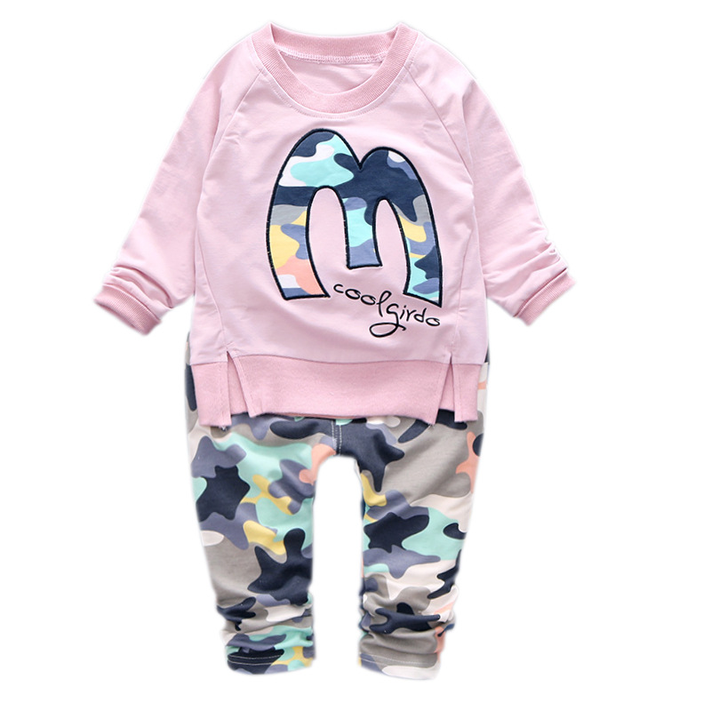 0-4 Alter Baby Bewegung Der Satz Von Camouflage Kinder Baumwolle Anzug Lon Hülse T-shirt + Pant Freies Verschiffen