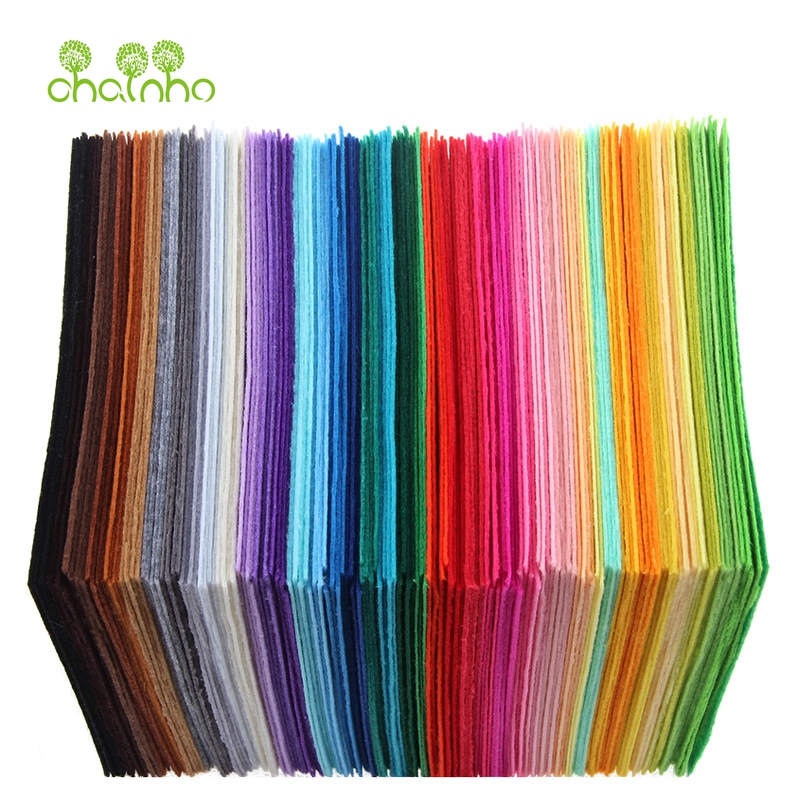 Chainho,Nonwoven <font><b>Felt</b></font> Fabric/<font><b>1mm</b></font> Thickness/Polyester Cloth of Home Decoration Bundle for Sewing Dolls & Crafts/40pcs 15cm*15cm image