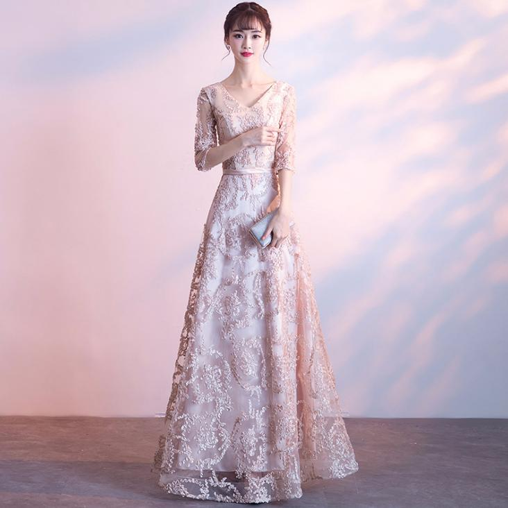 BANVASAC 2018 V Neck A Line Lace Embroidery Long Evening Dresses Elegant Sash Party Half Sleeve Backless Prom Gowns in Evening Dresses from Weddings Events
