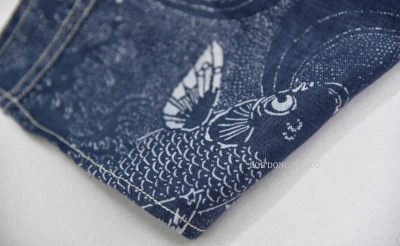 BOB DONG Cotton Linen Vintage Clothing Animal Carp Pattern Men Button Down Shirt
