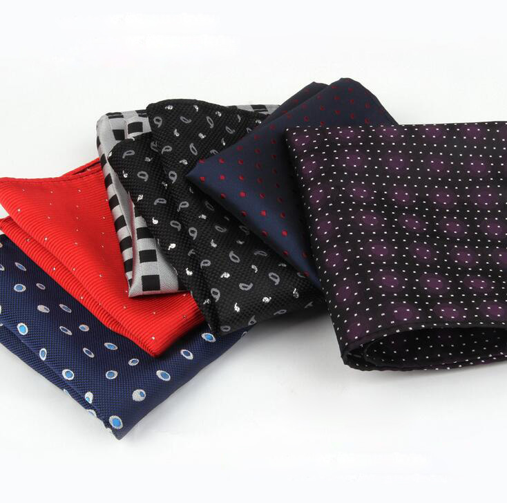 50pcs Fashion Designer Print Silk Satin Pocket Square Hanky Jacquard Woven Wedding Party Handkerchief For Men Accessories