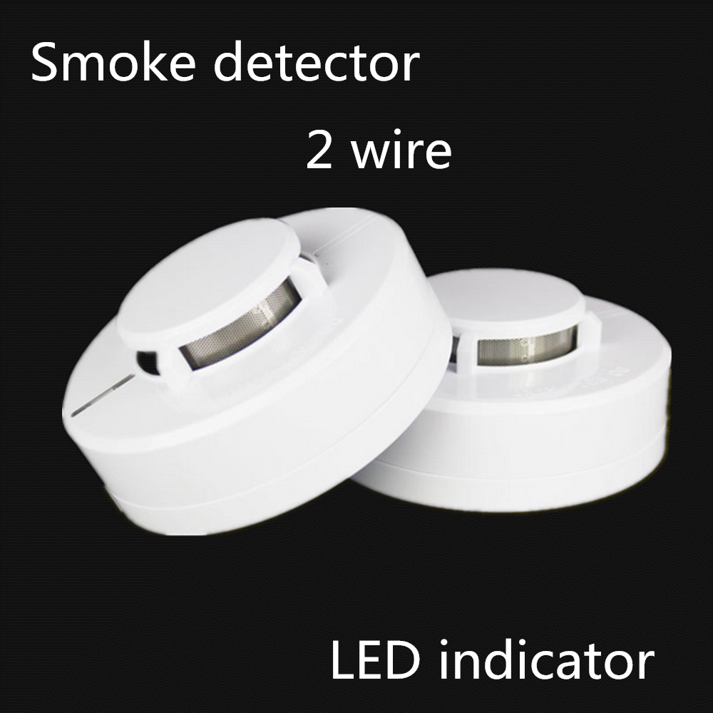 2pcs Lot Fire Alarm System 2 Wire Conventional Smoke Detectors Cj 2wire Detector Wiring Wires Network Led Indicator Dustproof And Mothproof Remote Dc9 35v