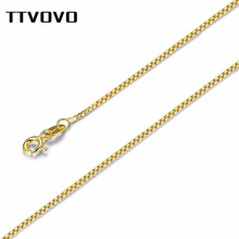 TTVOVO 100% Authentic 925 Sterling Silver Snake / Box Chain Necklace for Women Solid Silver Chokers Necklaces Statement Jewelry peri sbox authentic 925 sterling sliver oval circle pendant necklaces for women simple geometrical chokers necklace statement