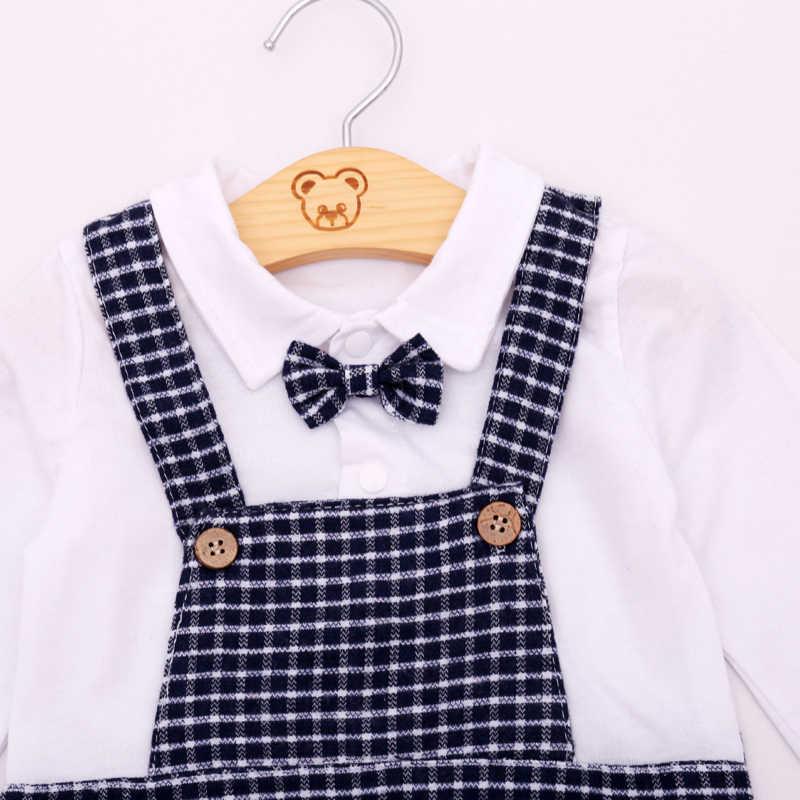 e044585fe ... Humor Bear Baby Boy Clothing Set Autumn Style Gentleman Long Sleeve  White Shirt Grid Suspenders Hat