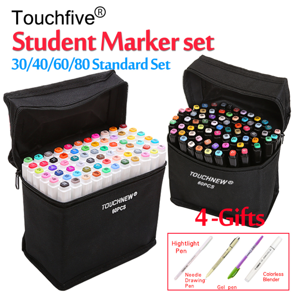 Touchfive 12/30/36/40/48/60/72/80 Colors Student Marker Set Dual Head Oily Alcoholic Sketch Marker Pen For Draw Animation Manga