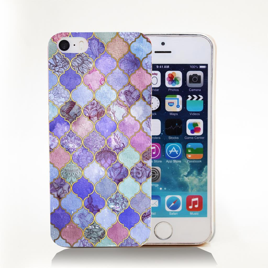 Decorative Moroccan Tile Pattern Art Hard Transparent Cover Case for iPhone 4 4s 5 5s 5c 6 6s Protect Phone Cases