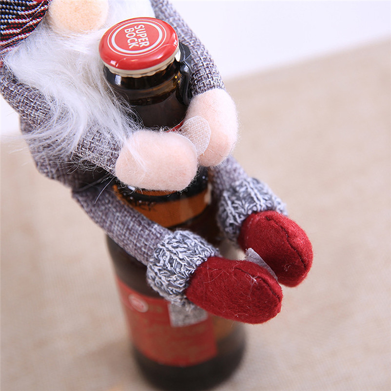 2018 Merry Christmas Wine Bottle Cover Clothes Xmas Santa Snowman Wine Bottle Decor Party christmas decorations for home O17 (6)