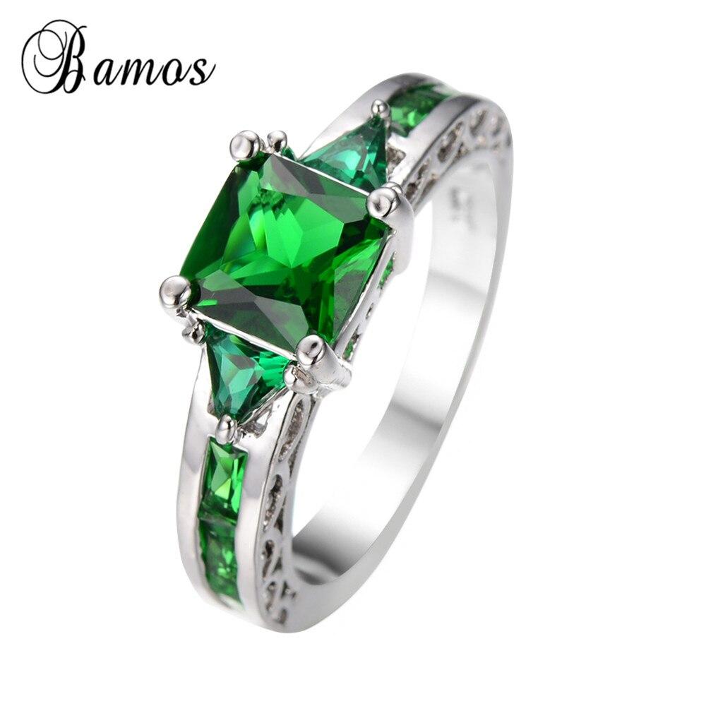 9116598eb5bf Venta caliente verde Anel ZIRCON oro blanco lleno de joyas  compromiso boda Partido anillos para las mujeres bague Femme RW0065