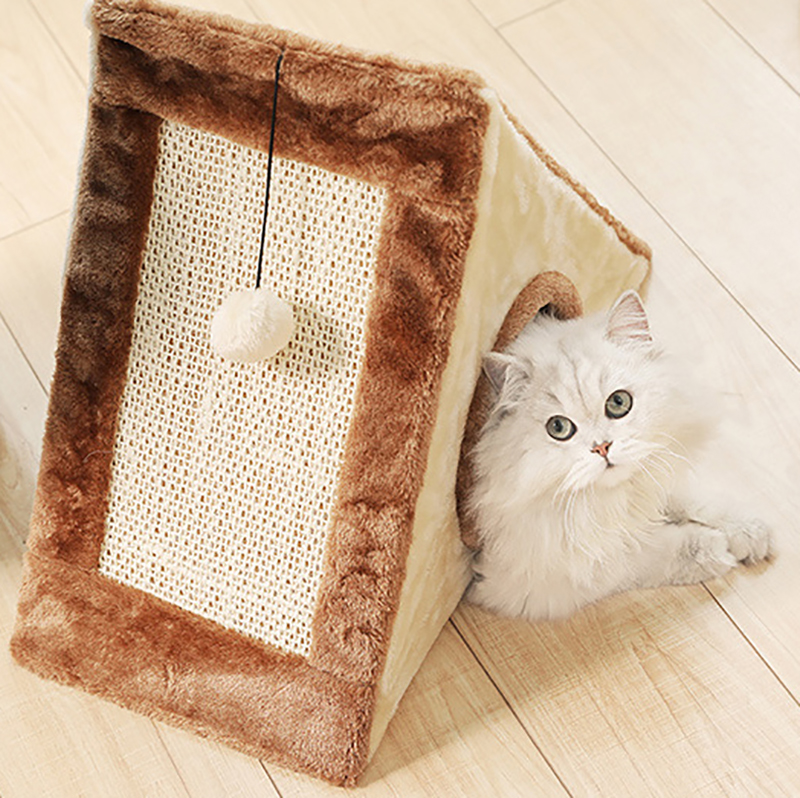 Ivyshion Cats Scratcher Boards Natural Caught Toy Small Cat Houses Climbing Frame Kitten Playing Tunnel With Ball In Furniture Scratchers From