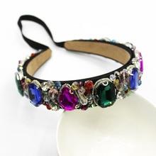Designer Crystal Baroque Jeweled Headband Women with Gems Jewel Gemstone Hair Accessories Diamond Hairband Party Pretty Band