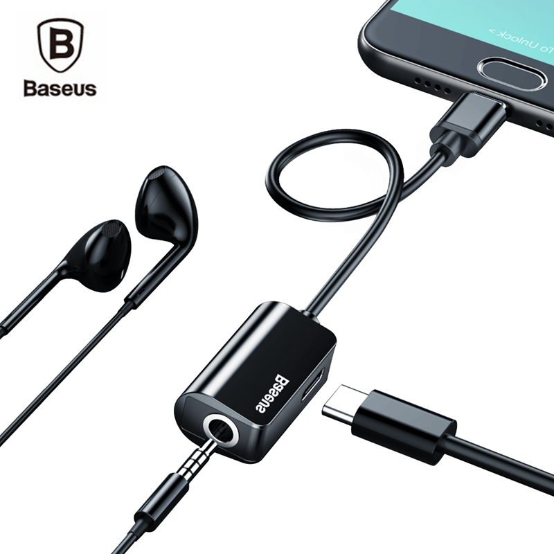 Baseus Audio Cable Adapter Type C to 3.5mm Jack Earphone Fast Charger USB C Splitter For Xiaomi Mi 6 Huawei Mate 10 Pro Type C