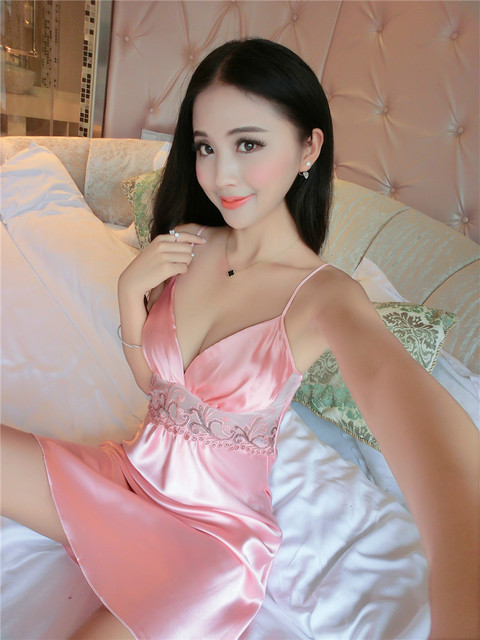 Sexy Women Silk Satin Night Dress Sleeveless Nighties Lace Sleepwear V-neck Nightgown Nightdress Nightwear For Ladies