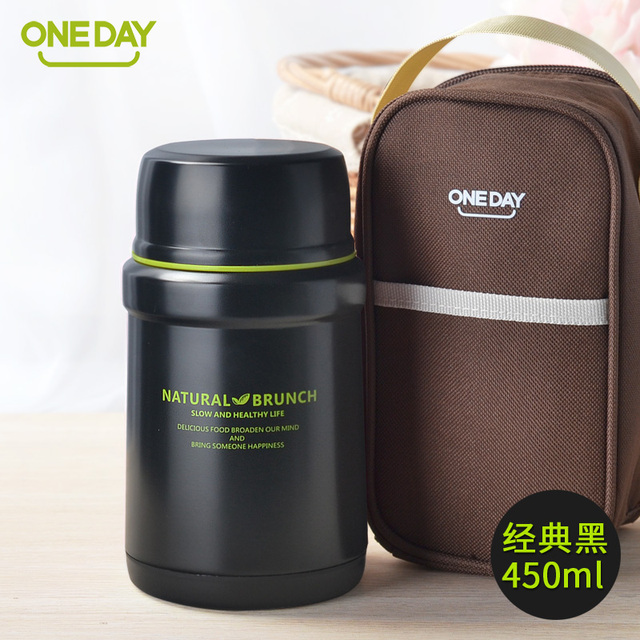 ONEDAY 450ml Food Container Thermal Bottle for Food Soup Insulated Soup Kettle Vacuum Flask With Bag Insulation Thermal Bento