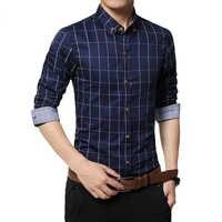 CYSINCOS nueva moda Otoño hombres Clothe Slim hombres camisa de manga larga hombres cuadros de algodón Casual hombres camisa Social Plus tamaño 5XL