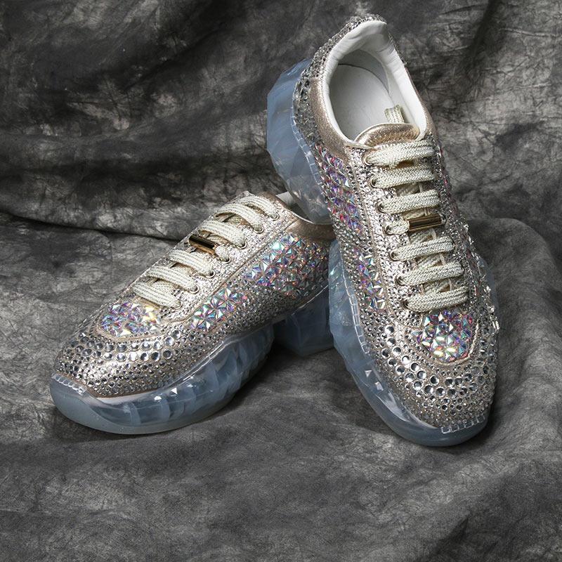 À Cristal Chaussures Plat Baskets Pour Talon Femmes Décontractées Lacets Colors Suru Détail Xz818