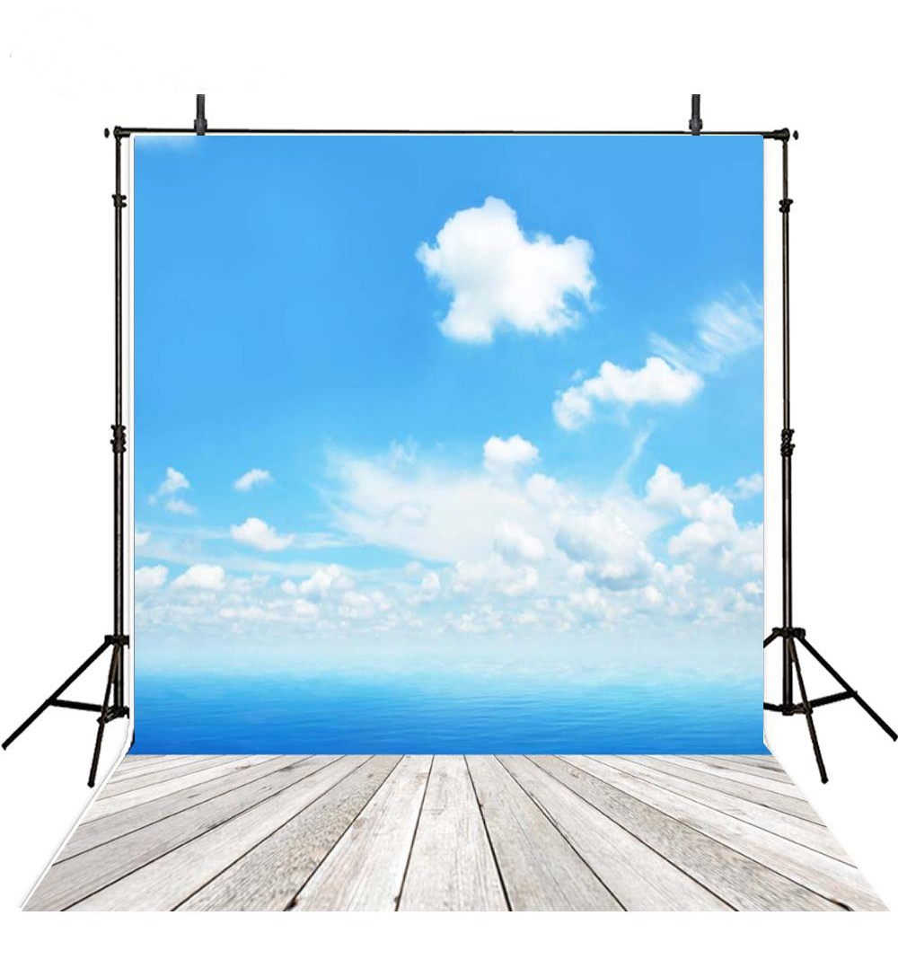Seaside Beach White Clouds And Blue Sky backdrops Vinyl cloth High quality Computer printed wall photo studio background