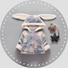 Розничная Новорожденных девочек Мультфильм Уха Кролика Зимние меховые пальто, дети верхняя одежда, девушки хлопок толстые теплые толстовки куртки дети одежда