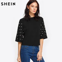 SHEIN Pearl Embellished Fluted Sleeve Tee Casual Women T Shirt Autumn Elegant Tops Black Half Sleeve