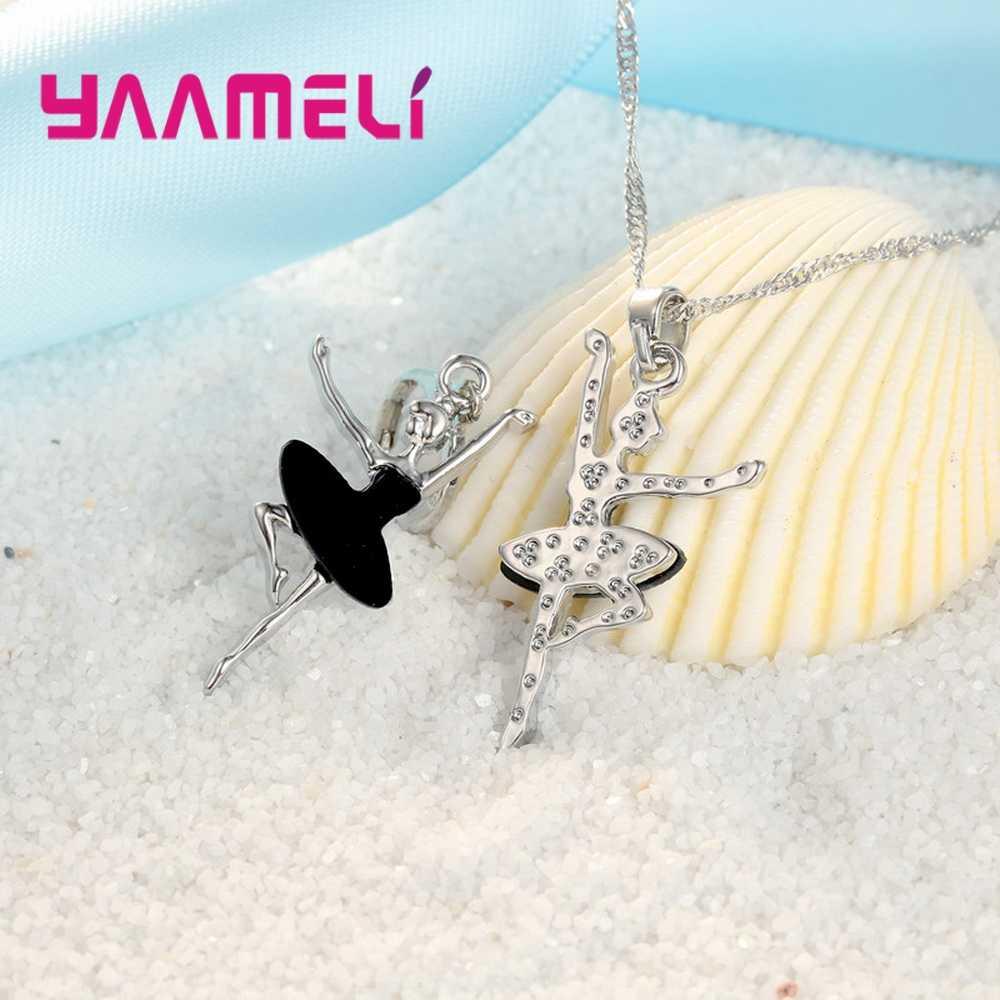 מכירה לוהטת ריקוד בלט בנות צורת האוסטרי קריסטל תליון תכשיטים סטי שרשרת עגילי ילדי מתנה