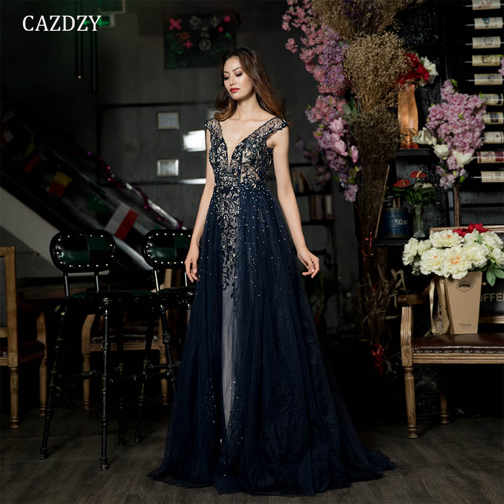 Detail Feedback Questions about CAZDZY Hand Beading Navy Blue With Train  Evening Dress Long Prom Gown Diamond Crystal Blackless Tulle Woman Formal  Dress ... 288468e96942