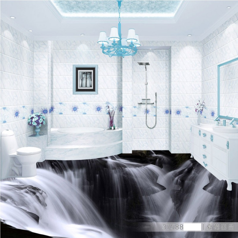 Free Shipping Atmospheric Waterfall Creative 3D living room bathroom PVC floor self-adhesive bedroom study lobby flooring mural free shipping marble texture parquet flooring 3d floor home decoration self adhesive mural baby room bedroom wallpaper mural