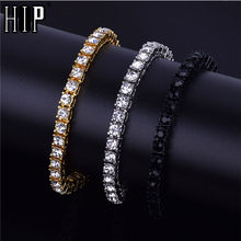 Hip Hop 1Row Bling CZ Iced Out Rhinestone Cubic Zirconia Bracelet Tennis Chain Bracelets For Women Men Jewelry Rose Red(China)