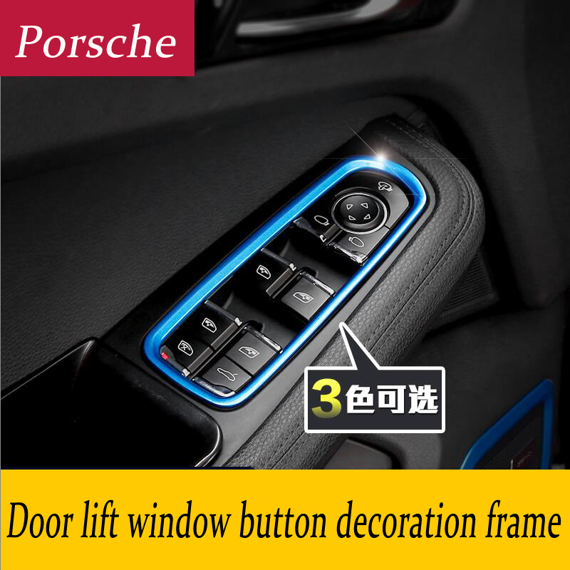 Car Styling Interior Door Window Lift Switch Panel Buttons frame decoration Cover 3D tickers for Porsche Panamera Cayenne Macan