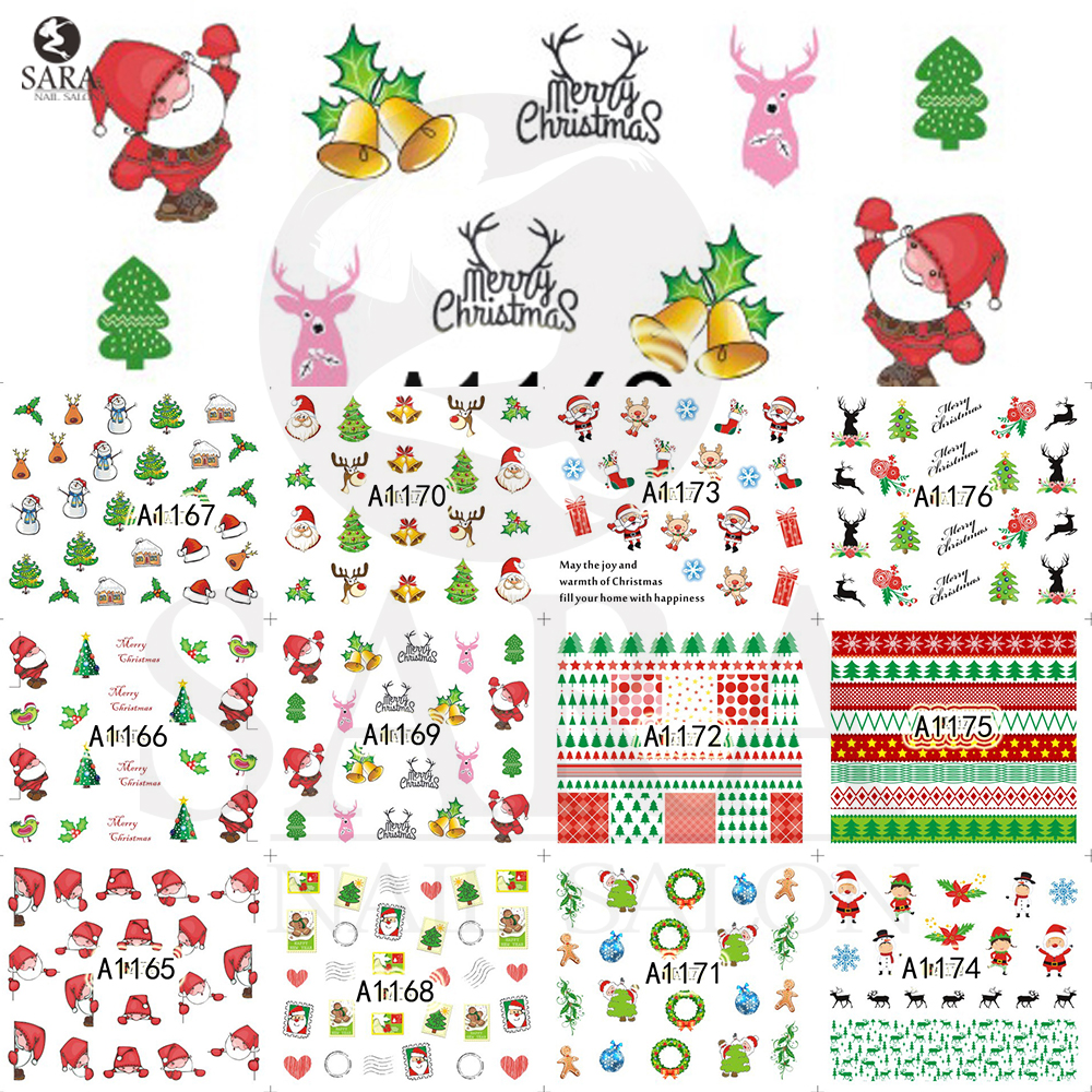 1pcs Charm Christmas Designs Xmas Snow Flower Sticker Nail Art Water Transfer Tips Decorations Tool SAA1165-1176 nail sticker water decal blue base flower christmas xmas white snow flake ru242 247