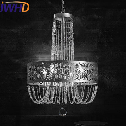IWHD Iron Vintage Rrtro Industrial Lighting Pendant Lights American Style Living Room Pendant Lamp Crystal Suspension Luminaire noosion modern led ceiling lamp for bedroom room black and white color with crystal plafon techo iluminacion lustre de plafond