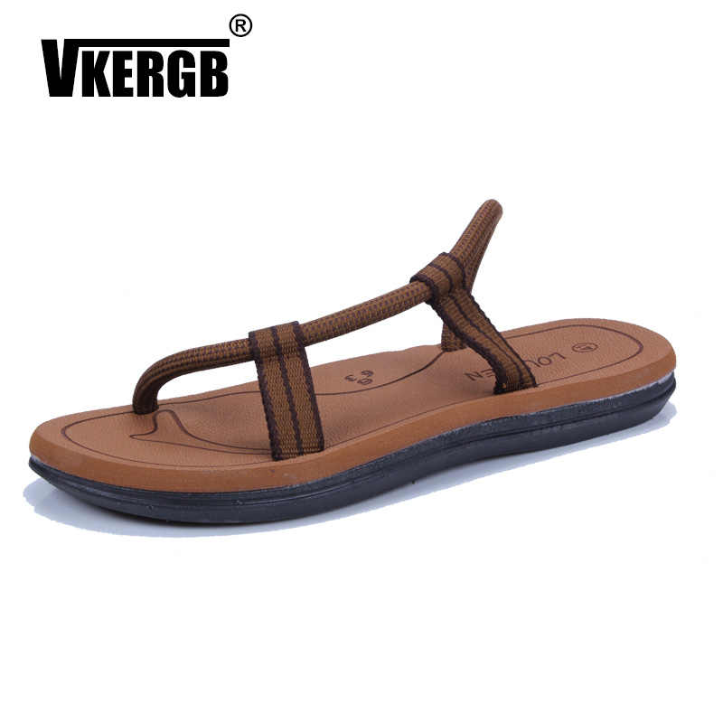 e9c05b30c6a3 VKERGB Luxury Brand 2018 Summer New Arrival Cool Men Flip Flops British  Style Boardered Beach Sandals