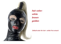 new Latex Costumes Bondage hood with back zipper including hair holder and long wig hairpiece sexy man women cosplay