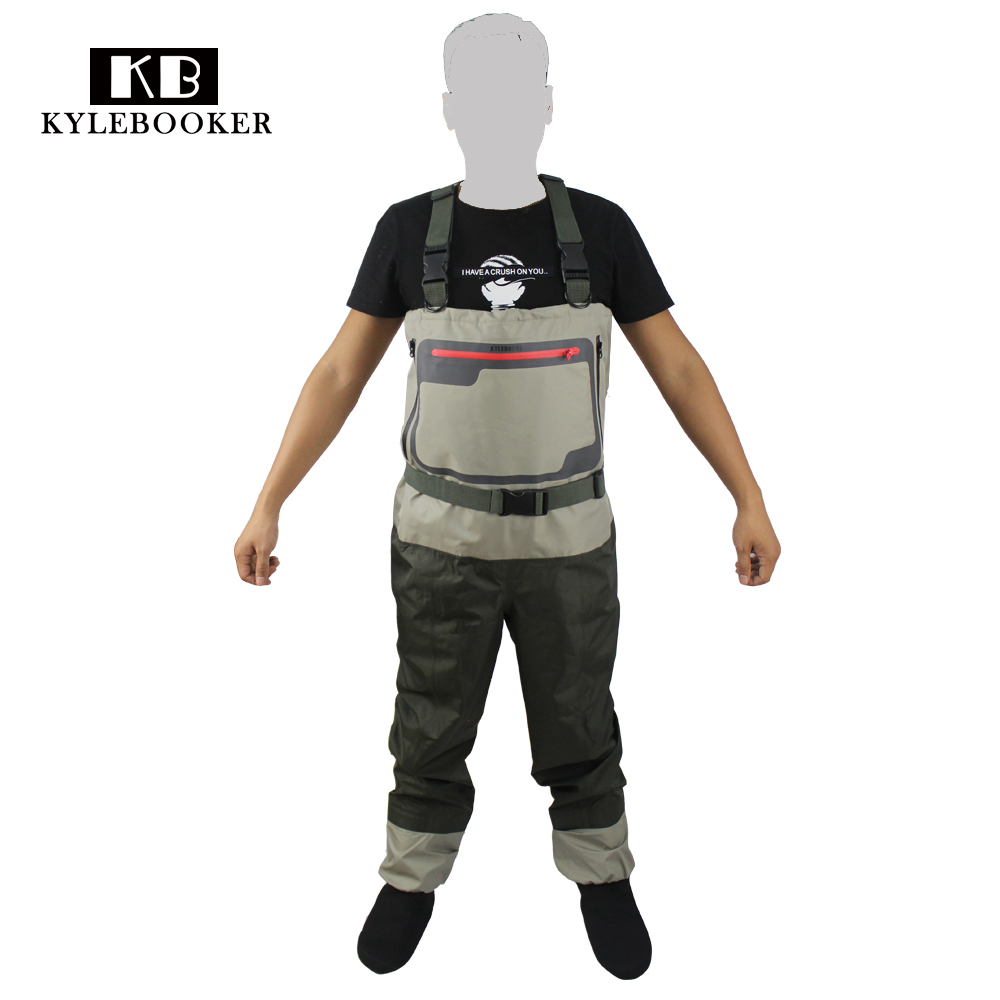 цена на Men's Hunting wader Breathable Stocking foot Wader Light weight Convertible Fishing Chest Waders Wading Pants For Fly Fishing