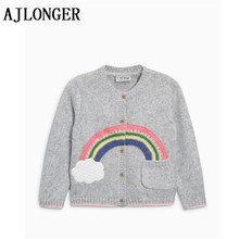 цены  Girls Clothing New 2017 Autumn Spring Children Sweaters Rainbow Pattern Long Sleeve Outerwear Kids Knitwear 3-7Y