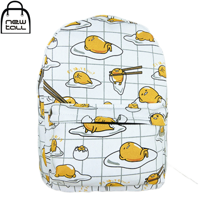 [NEWTALL] 2017 New Kawaii Cartoon Gudetama Cute Fried Eggs Funny White Backpack School Shoulder Bags 16072612 цена