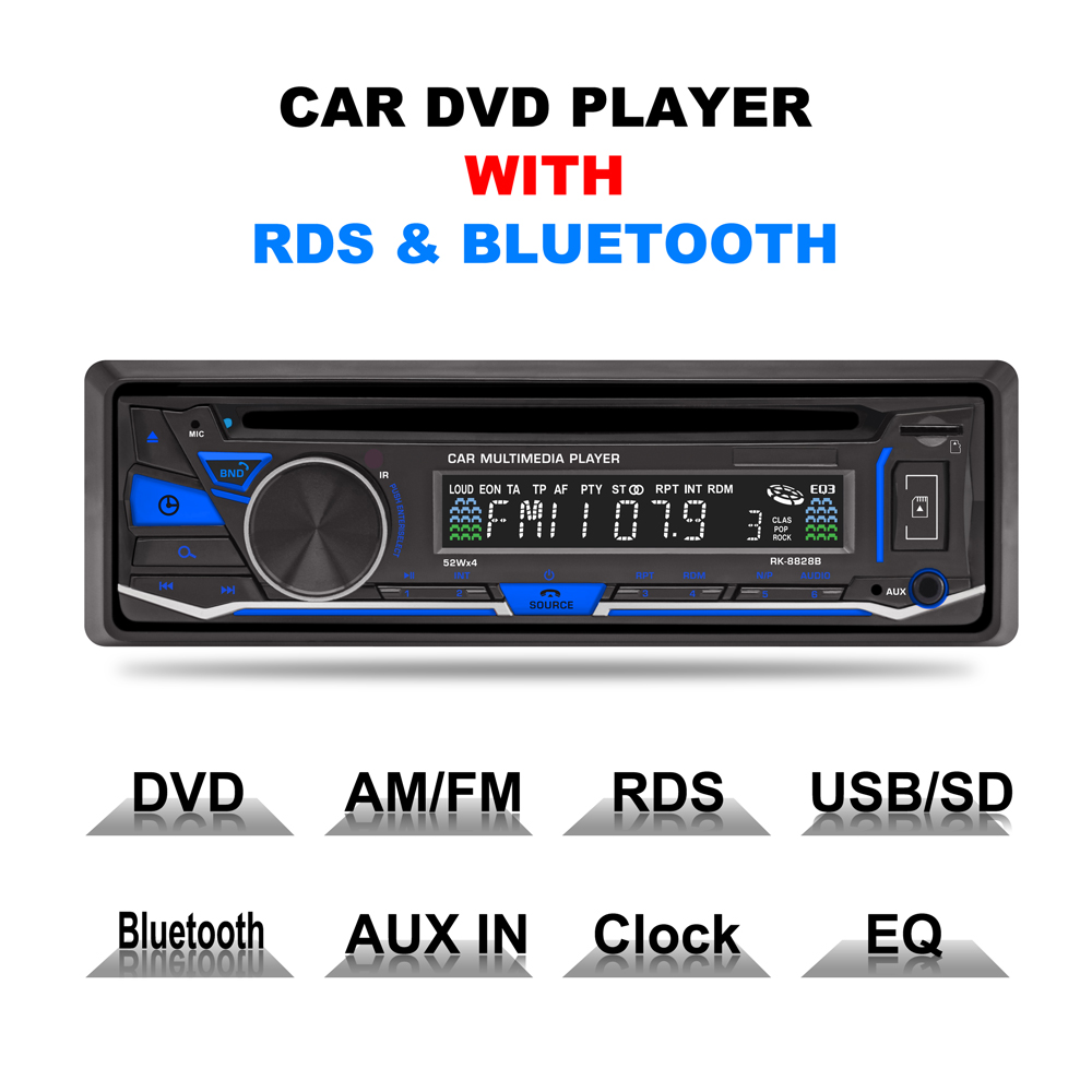 RK-8828B Fixed panel 4*52W 7388IC Car DVD Radio Bluetooth AM FM RDS Receiver CD VCD MP3 SD USB 12V One Din Car Multimedia Player image