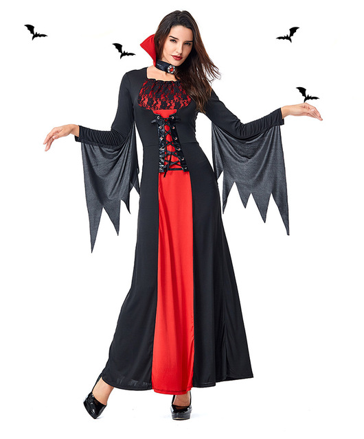 Halloween Vampire Bat Costume Dress Women Patchwork Bandage Dress With Neck Decoration Role Play Vampire Halloween Costume Dress