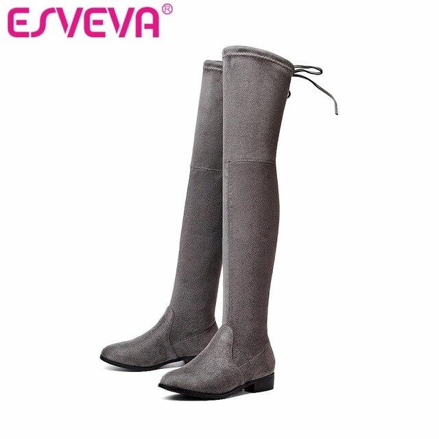 ESVEVA 2017 Diz Üzerinde Çizmeler Kare Med Topuk Kadın Çizmeler seksi Bayanlar Dantel Up Streç Kumaş Moda Çizmeler Siyah Boyutu 34-43