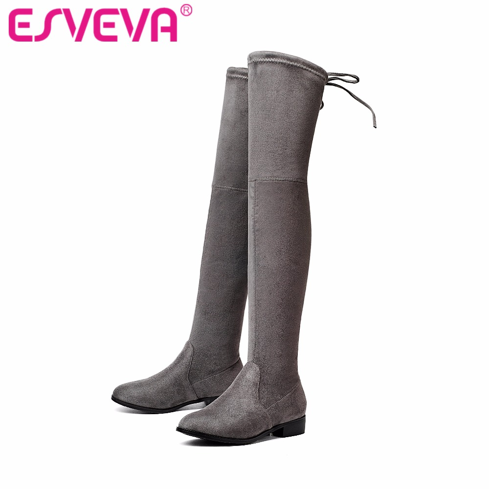 ESVEVA 2017 Over The Knee Boots Square Med Heel Women Boots Sexy Ladies Lace Up Stretch Fabric Fashion Boots Black Size 34-43 vallkin 2018 lace up women boots rhinestone square high heel over the knee boots stretch fabric wedding ladies boots size 34 43