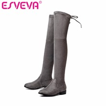 ESVEVA 2017 Over The Knee Boots Square Med Heel Women Boots Sexy Ladies Lace Up Stretch Fabric Fashion Boots Black Size 34-43