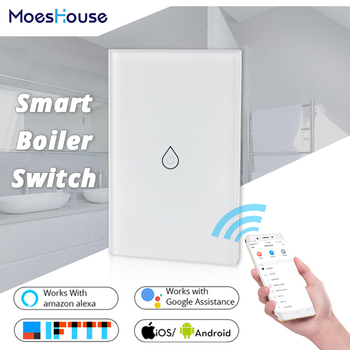 WiFi Smart Boiler Glass Panel Switch Water Heater Smart Life Tuya APP Remote Control Amazon Alexa Echo Google Home Voice Control