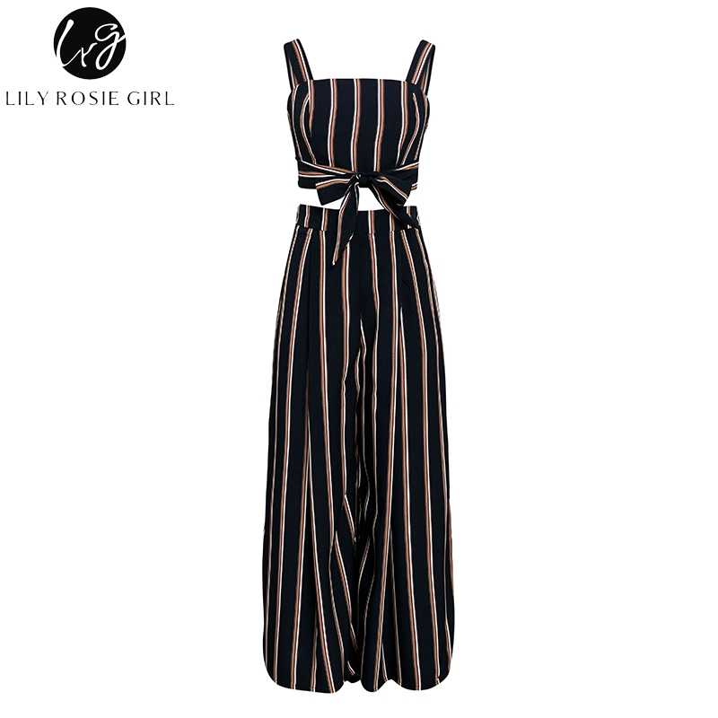404bef2acb ... Lily Rosie Girl Boho Striped Chiffon Jumpsuit Romper Summer Crop Top  Long Pants Women Jumpsuit Sets