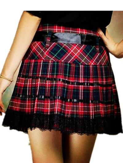 Summer Autumn Girls A Line Scotland Skirt Red Kilt Pleated Plaid Skirt Teen Girls Women Lace Bow-tie Dance Skirts