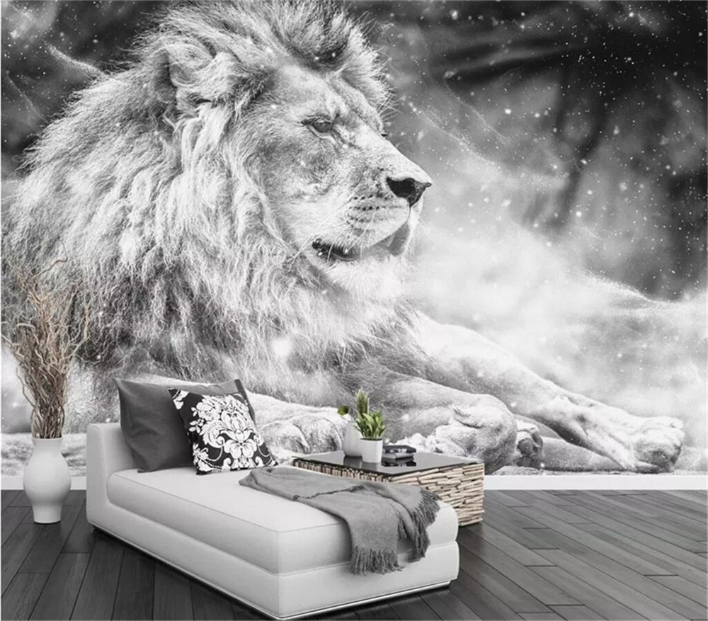 Decorative Wallpaper Black And White Lion TV Background Wall Modern Simple Background Wall