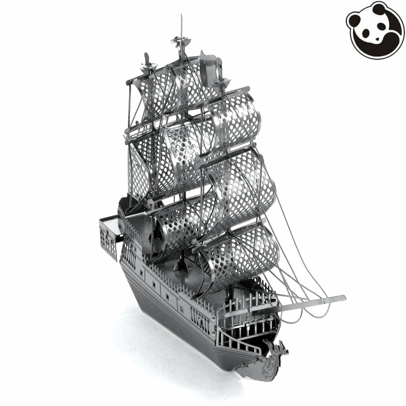 Stainless steel ornaments - Pandamodel Ships 3d Metal Model Etching Puzzles Chinese Metal Earth Black Pearl Creative Gifts Stainless